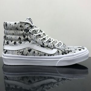 146a648611 VANS SK8 HI SLIM ITALIAN WEAVE ABSTRACT TRUE WHITE TRAINERS SHOES