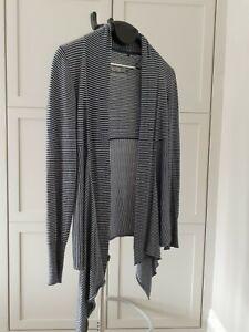 Fat-Face-Waterfall-Cardigan-Drape-Wrap-Stripe-Navy-White-Cotton-Blend-Size-12