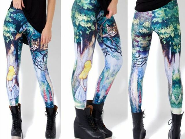 Alice in Wonderland Cheshire Cat Watercolor Painting Disney Print Blue Leggings