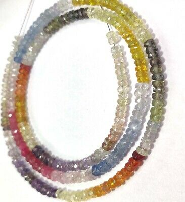 AAA Multi Color Sapphire Faceted Rondelle Beads   Sapphire Multi Beads   Multi Rainbow Beads   Multi Sapphire Beads Wholesale Beads
