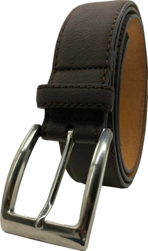 "Mens Real Leather Belt 100/% Black Tan Brown XL-XXL 1.25/"" Buckle Forest Belts"