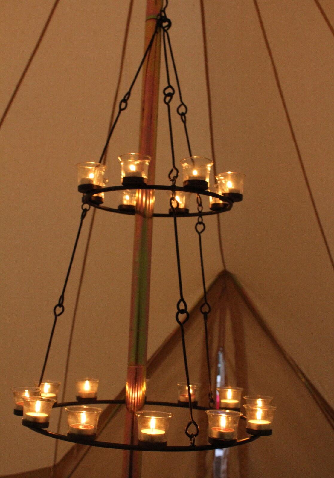 Tea light chandelier double tier multi coloured glass by bell tent tea light chandelier double tier multi coloured glass by bell tent boutique aloadofball Gallery