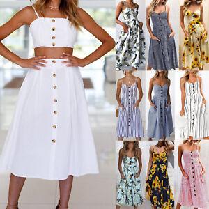 Sexy-Women-Holiday-Strappy-Button-Ladies-Summer-Beach-Midi-Swing-Sun-Dress-AU