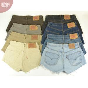 Vintage-Levis-501-Pantalones-De-Mezclilla-de-cintura-alta-Hotpant-Jean-6-8-10-12-14-16