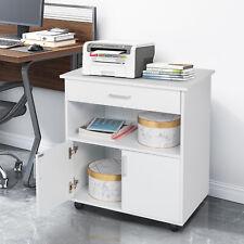 Printer Cabinet Stand 2 Doors Copier Storage Shelves Rolling Under Desk Modern