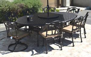 Patio-dining-set-10-piece-cast-aluminum-Nassau-table-70-x-100-034-Palm-tree-chairs