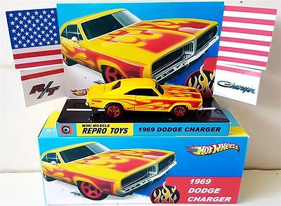 1969 Dodge Chargeur D18 RARE BLACK W Flammes L/'Original Muscle Machines