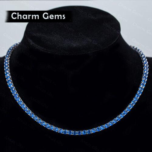 Cadeau De Mariage Rond Cut Multi Bleu Topaze Gemmes Argent Charmant collier 18 In environ 45.72 cm
