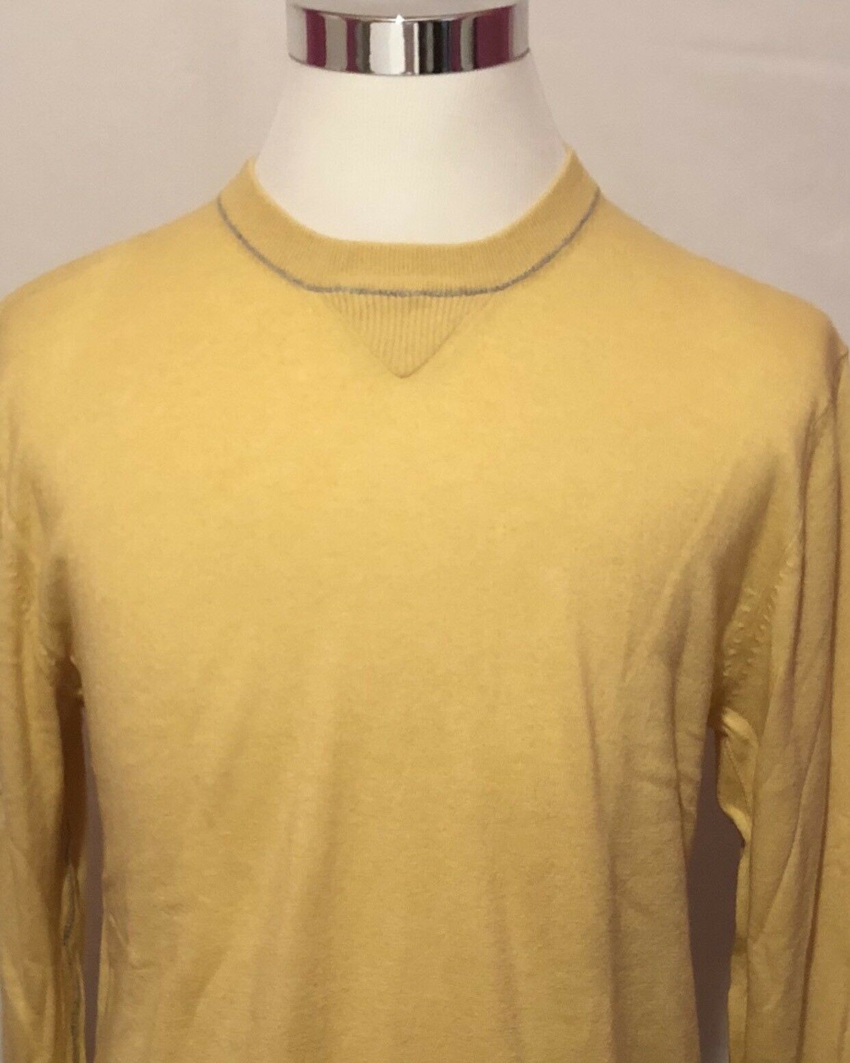 Zegna Sport Mens Cotton Cashmere Blend Sweater Yellow Long Sleeve SZ L