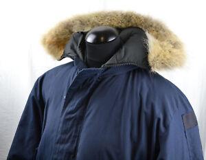 Wood-039-s-Canada-Arctic-Classic-Parka-Goose-Down-Blue-XXL-Coyote-Fur-Collar-Jacket