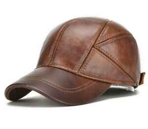 2918cb9df81d Men's Genuine Leather Baseball Caps Winter Hats with Ear Flaps Cap ...