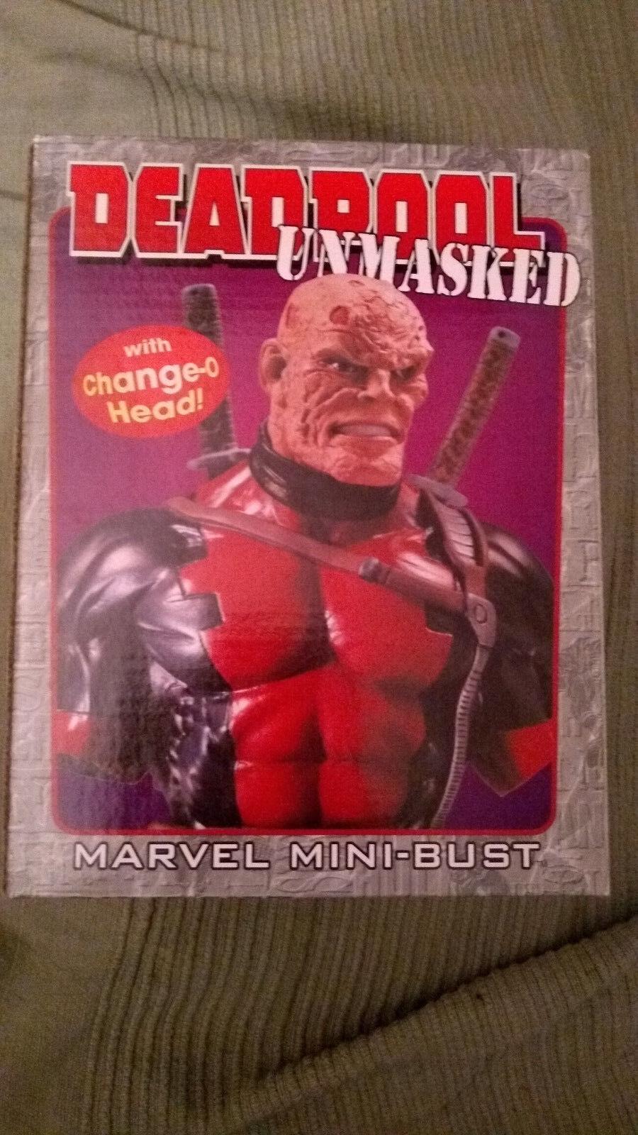 Randy Bowen Deadpool Unmasked mini bust statue X-men Boxed change o head
