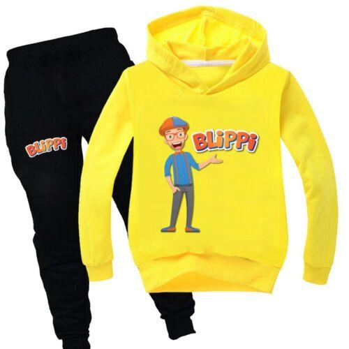 NEW Boys Girls Chlidren BLiPPi Hoodies Sweatshirt+Pants Trousers Tracksuit Set