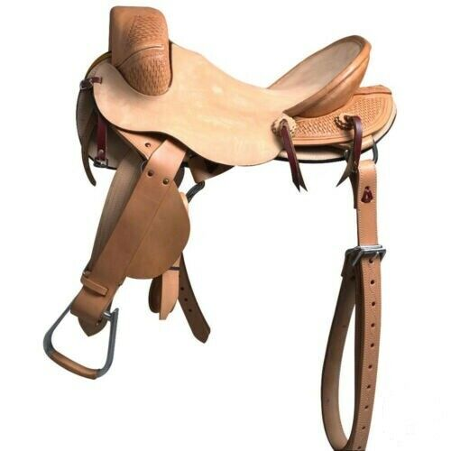 Western Natural Leather Stripped Down Bronc Saddle   12 ,13 ,14 ,15 ,16,17  18