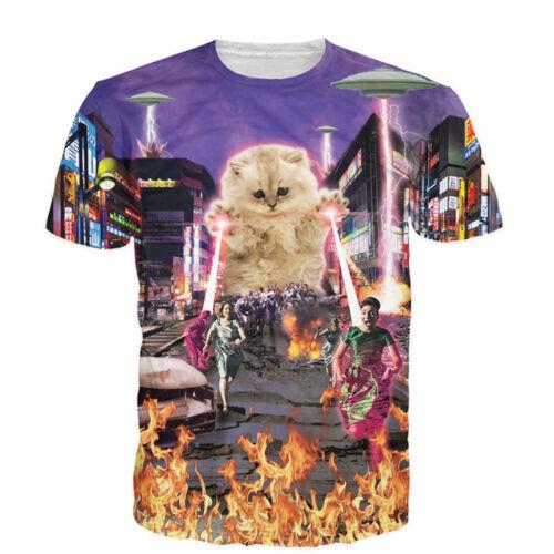 Men Women 3D T-Shirt Cat Dominate the World Funny Print Casual Short Sleeve