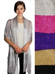 New-Women-039-s-Wrap-Shawl-Scarf-Cover-Up-Evening-Party-Sparkly-Glittery-Metallic