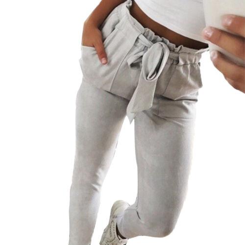 Damen Hose Gürtel Elastische Taille Zigarette Röhrenhose Sommer Freizeit Keuchen