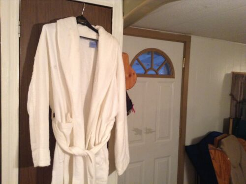 White terrycloth spa robe