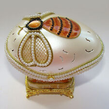 Boite à bijoux OEUF musical en coquille Abeille stile Faberge boite a musique