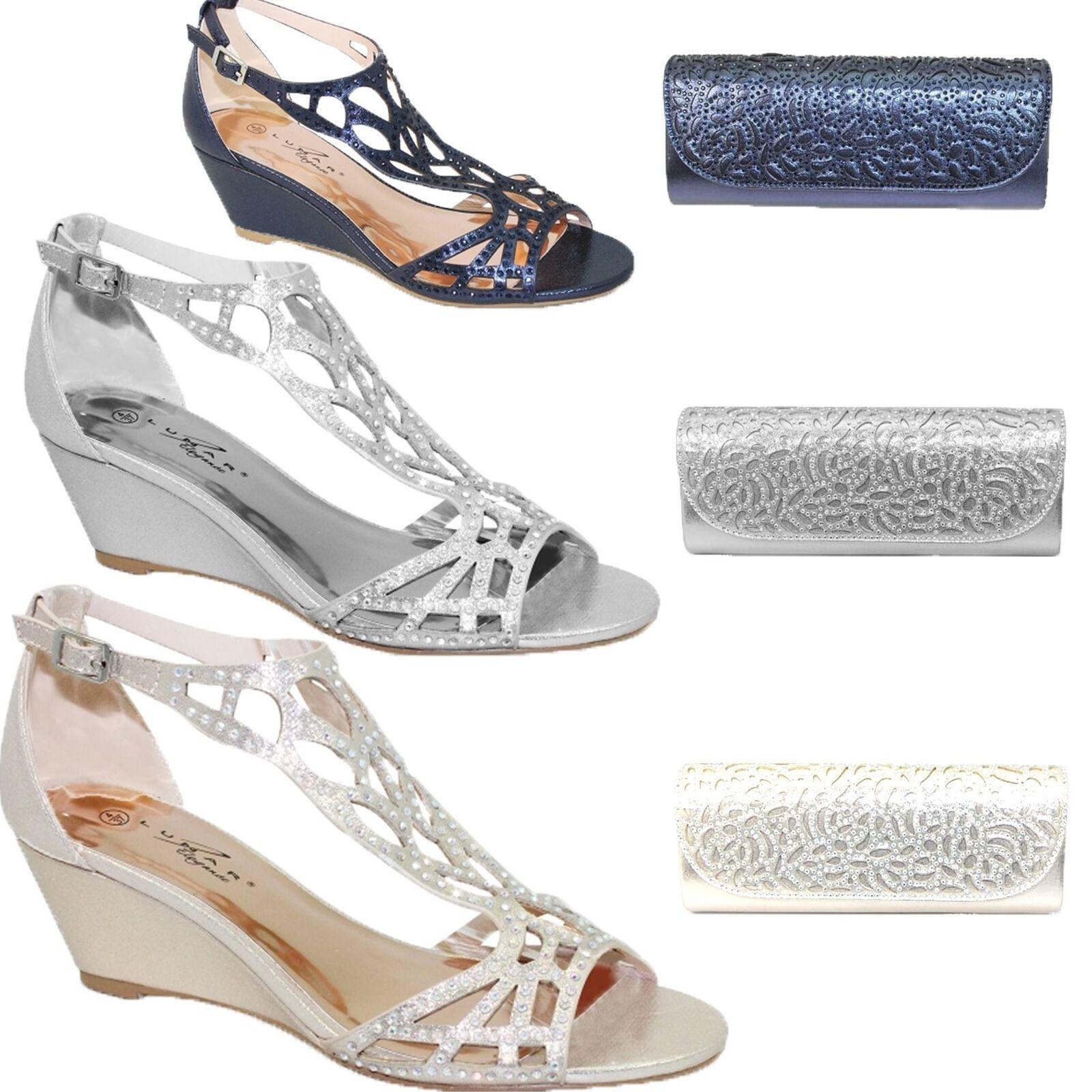 FLC111 Denton Strap Diamante Rhinestone Peep Toe Wedge Sandale Bag Clutch