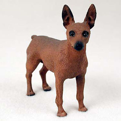 Mini Pinscher Hand Painted Collectible Dog Figurine Red/Brown