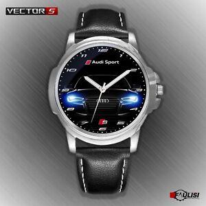Orologio-da-polso-Audi-Sport-con-fari-a-led-S-Line-in-acciaio-cinturino-di-pelle