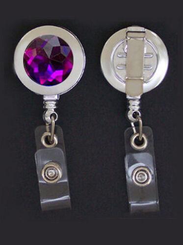 Purple RHINESTONE Retractable ID Badge Reel//Keychain Card Holder Key Ring Silver