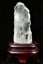 Natural Clear Rock Crystal Quartz Carving Kwan Yin / Guanyin Statue Sculpture