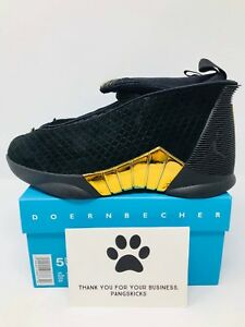 486df9fc605 Nike Air Jordan 15 Retro DB  Doernbecher  Black Gold BV7110-017 GS ...