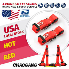 1x Chaogang Universal Red 4 Point Camlock Quick Release Racing Seat Belt Harness