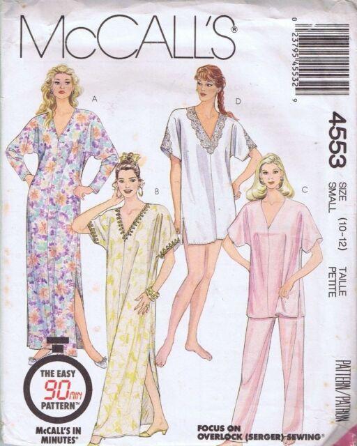 McCalls 4553 Ladies Lingerie Night Dress Sleep Caftan Sewing Pattern ...