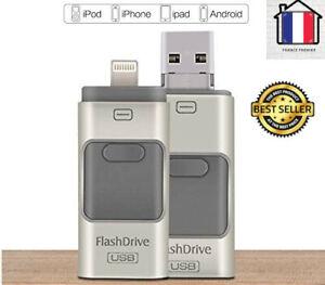 Clé USB iPhone 256Go Stockage Pour iPhone 8 7 6 6S 5 iPad Rapide Adaptable Neuf