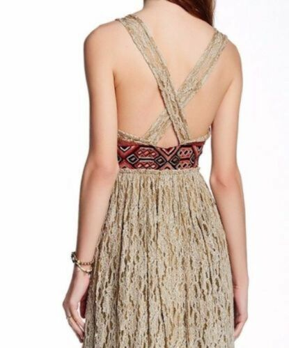ad5d64cb086 2 of 4 FREE PEOPLE Crushed Gold Embellished Party Maxi Dress Sz 0 2   4   400 NWT
