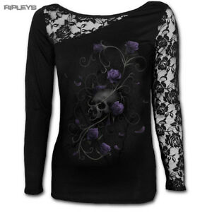 SPIRAL-DIRECT-Ladies-Black-Goth-ENTWINED-Skull-Lace-Top-L-Sleeve-All-Sizes