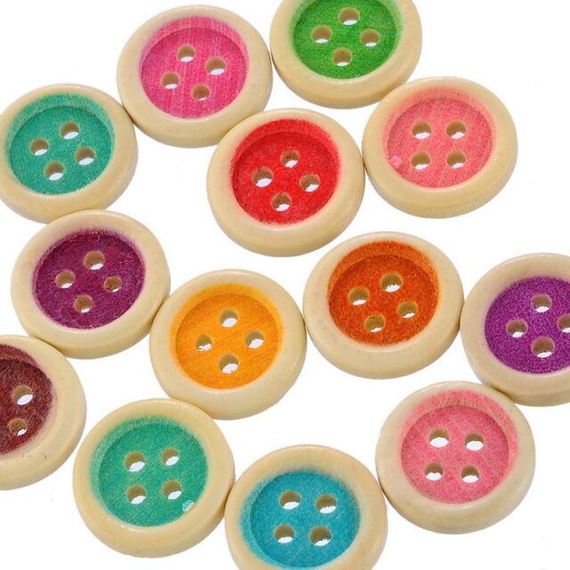 Großverkauf Mix Holz Knopf Knöpfe Buttons 4 Löcher Rund 15mm DIY Basteln