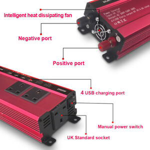 2000W 4000W Power Inverter 12V DC to 110V OR 220V AC Adapter Charger Converter