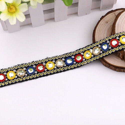 1 Yard Ethnic Mirror Trim Embroidered Lace Ribbon DIY Clothing Sewing Handmade