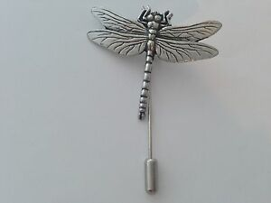 fffc7c2ee0826 C3 Dragonfly english pewter Motif on a tie stick pin hat scarf ...