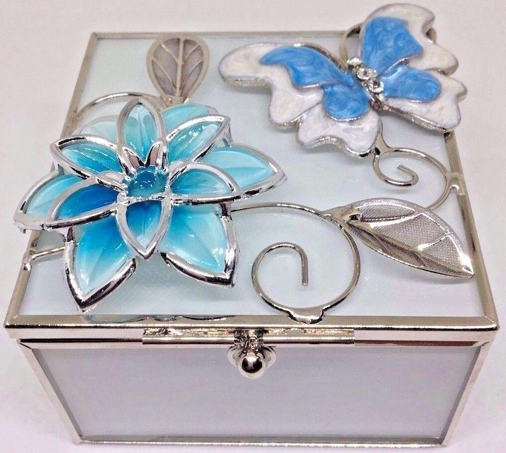 Butterfly Glass Bejeweled Trinket Box