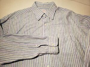 b8d4f0932 Brooks Brothers Linen Shirt Irish Linen LARGE L Multi Color Striped ...