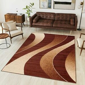 Brown Area Rug Modern Design Small Extra Large Waves Pattern Contemporary Rugs Ebay