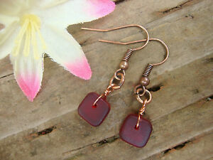Square-Red-Sea-Glass-Copper-Dangle-Earrings-USA-HANDMADE