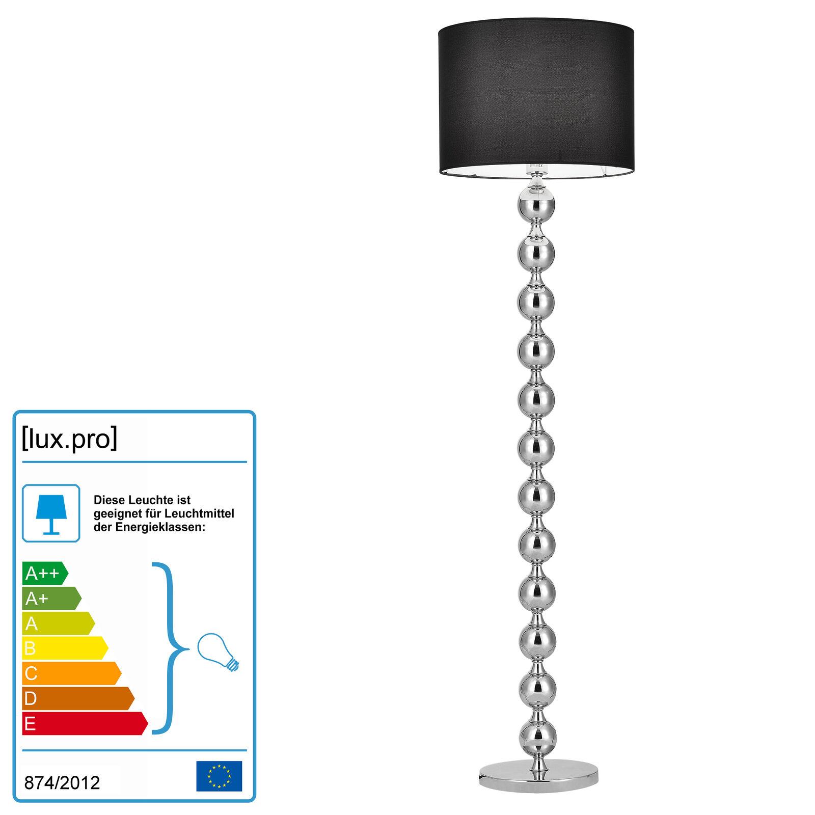 Stehleuchte Schwarz + Chrom  Stehlampe Standleuchte Lampe