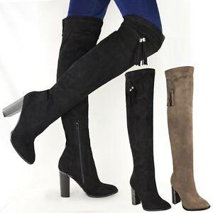 59e32e60d8b womens ladies thigh high boots over the knee block heels tassel ...