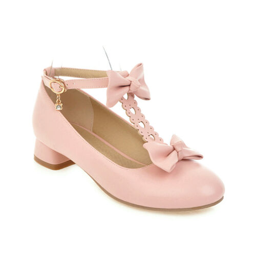 Womens Mary Jane Lolita Pumps Shoes Bowknot Sweet Block Heels Buckle Strap Shoes