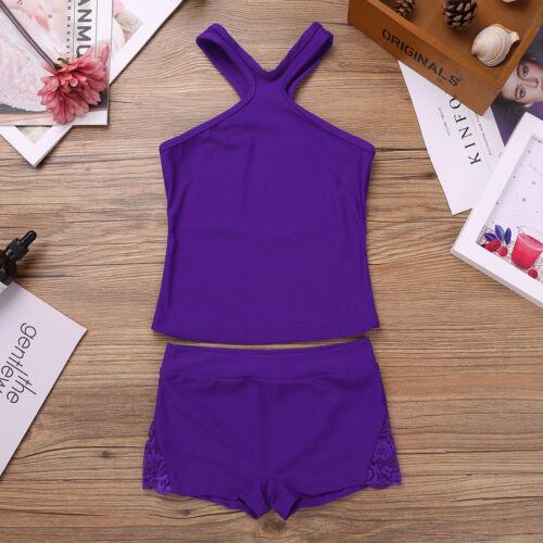 Girl Ballet Gymnastics Leotard Bra Top+Shorts Kids Outfit Sports Gym Dance Wear