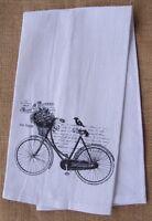 Alice's Cottage Huck Cotton Towel, 14x25, Bike With Flower Basket & Bird