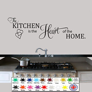 Kitchen Quote Wall Art Sticker Heart of The Home Vinyl Decal Transfer Graphic UK