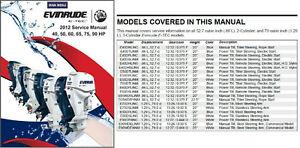 2012 evinrude e tec 40 50 60 65 75 90 hp outboard motor service rh ebay com Evinrude E-TEC 200 Evinrude E-TEC Logo