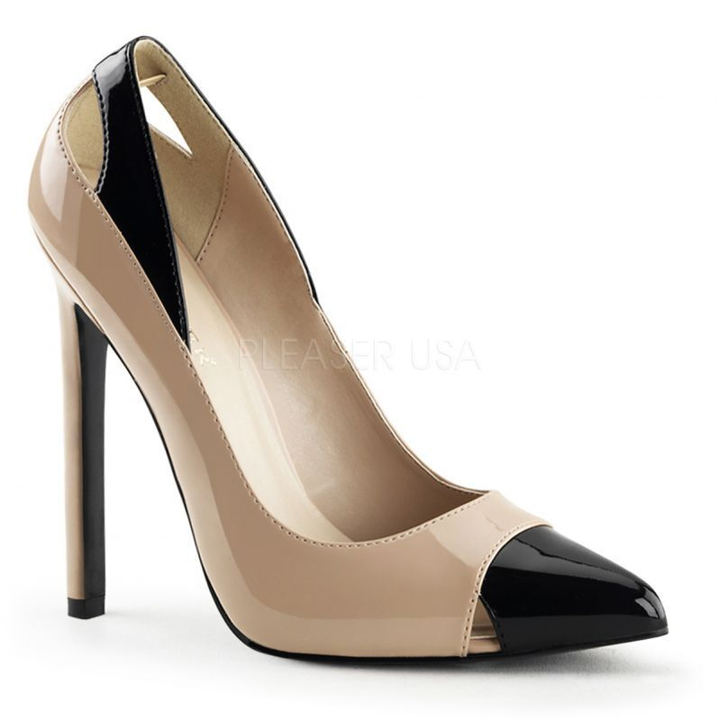 PLEASER Sexy SEXY-22 Pumps Beige-Schwarz Lack Cut-Outs Office Party Tabledance Sexy PLEASER . 523d45